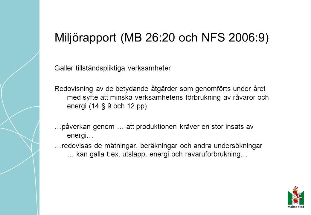 Miljörapport (MB 26:20 och NFS 2006:9) Gäller tillståndspliktiga verksamheter Redovisning av de betydande åtgärder som genomförts under året med syfte