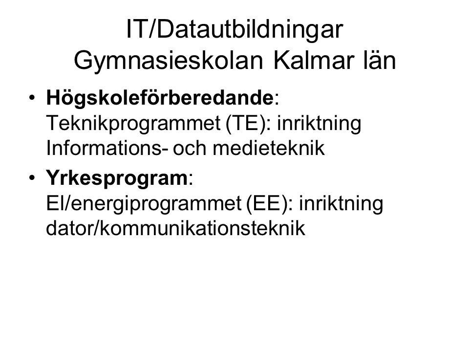 IT/Datautbildningar Gymnasieskolan Kalmar län •Högskoleförberedande: Teknikprogrammet (TE): inriktning Informations- och medieteknik •Yrkesprogram: El