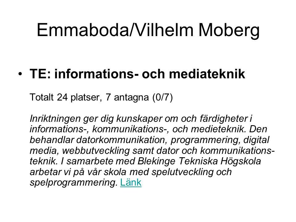 Emmaboda/Vilhelm Moberg •TE: informations- och mediateknik Totalt 24 platser, 7 antagna (0/7) Inriktningen ger dig kunskaper om och färdigheter i info