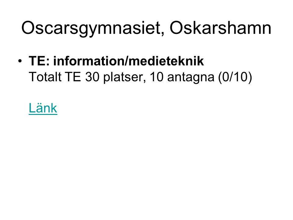 Oscarsgymnasiet, Oskarshamn •TE: information/medieteknik Totalt TE 30 platser, 10 antagna (0/10) Länk Länk