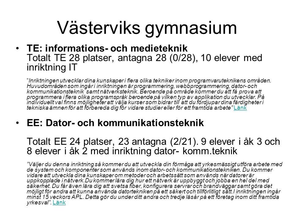 """Västerviks gymnasium •TE: informations- och medieteknik Totalt TE 28 platser, antagna 28 (0/28), 10 elever med inriktning IT """"Inriktningen utvecklar d"""