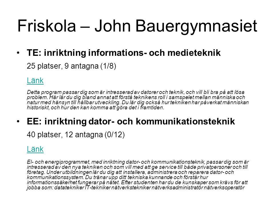 Friskola – John Bauergymnasiet •TE: inriktning informations- och medieteknik 25 platser, 9 antagna (1/8) Länk Detta program passar dig som är intresse