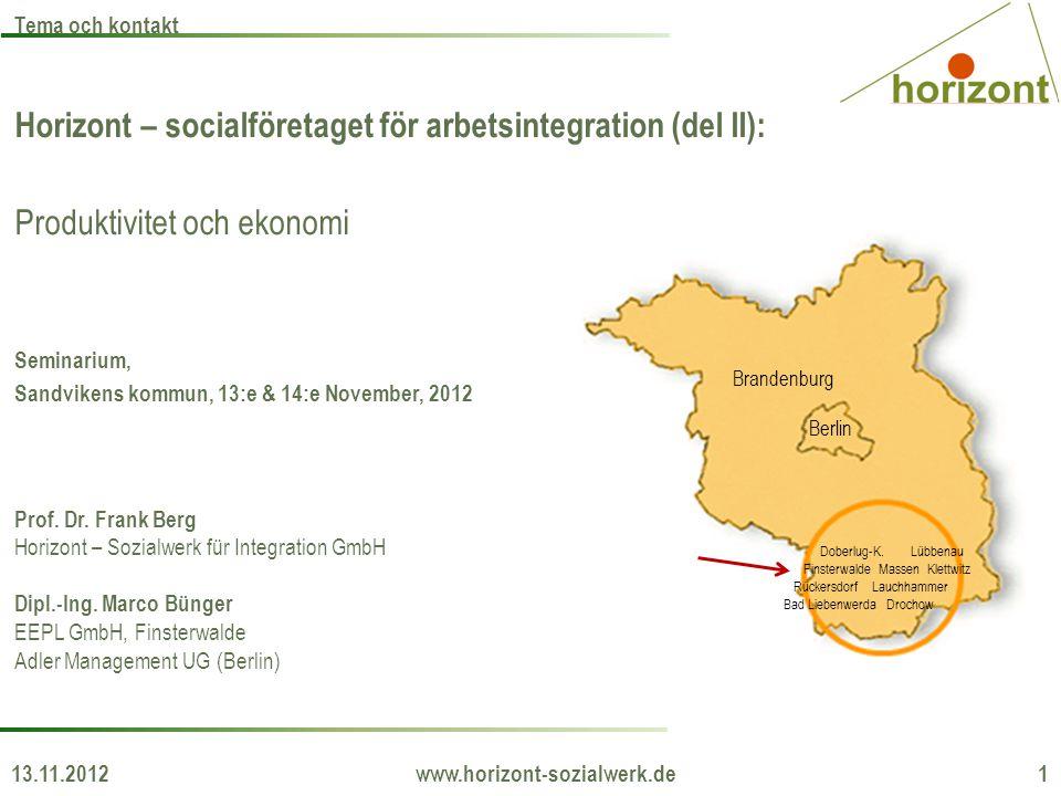 Horizont – socialföretaget för arbetsintegration (del II): Produktivitet och ekonomi Seminarium, Sandvikens kommun, 13:e & 14:e November, 2012 Prof. D