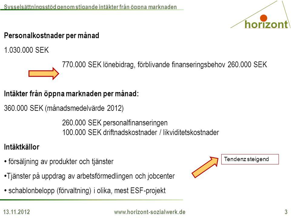 Personalkostnader per månad 1.030.000 SEK 770.000 SEK lönebidrag, förblivande finanseringsbehov 260.000 SEK Intäkter från öppna marknaden per månad: 3