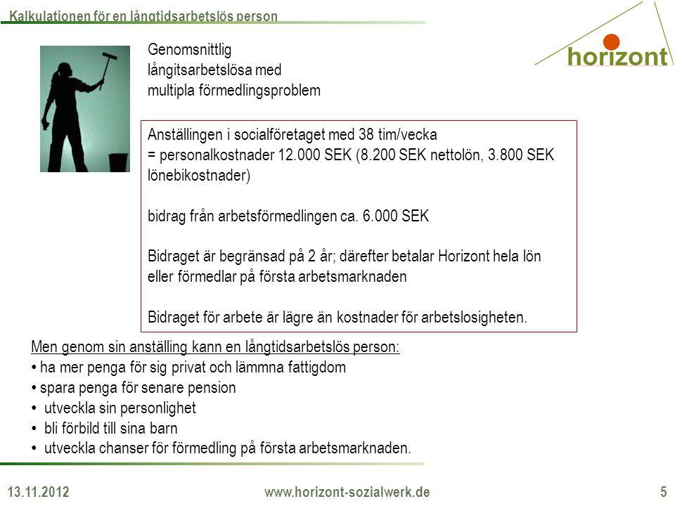 13.11.2012 www.horizont-sozialwerk.de 5 Kalkulationen för en långtidsarbetslös person Genomsnittlig långitsarbetslösa med multipla förmedlingsproblem