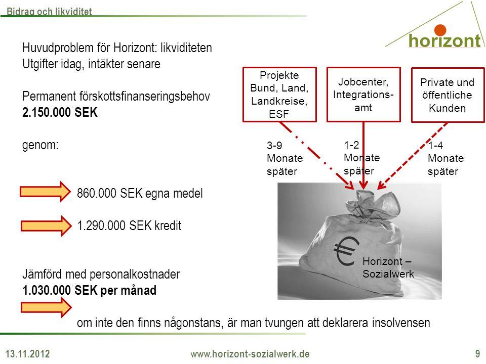 13.11.2012 www.horizont-sozialwerk.de 9 Bidrag och likviditet Projekte Bund, Land, Landkreise, ESF Jobcenter, Integrations- amt Private und öffentlich