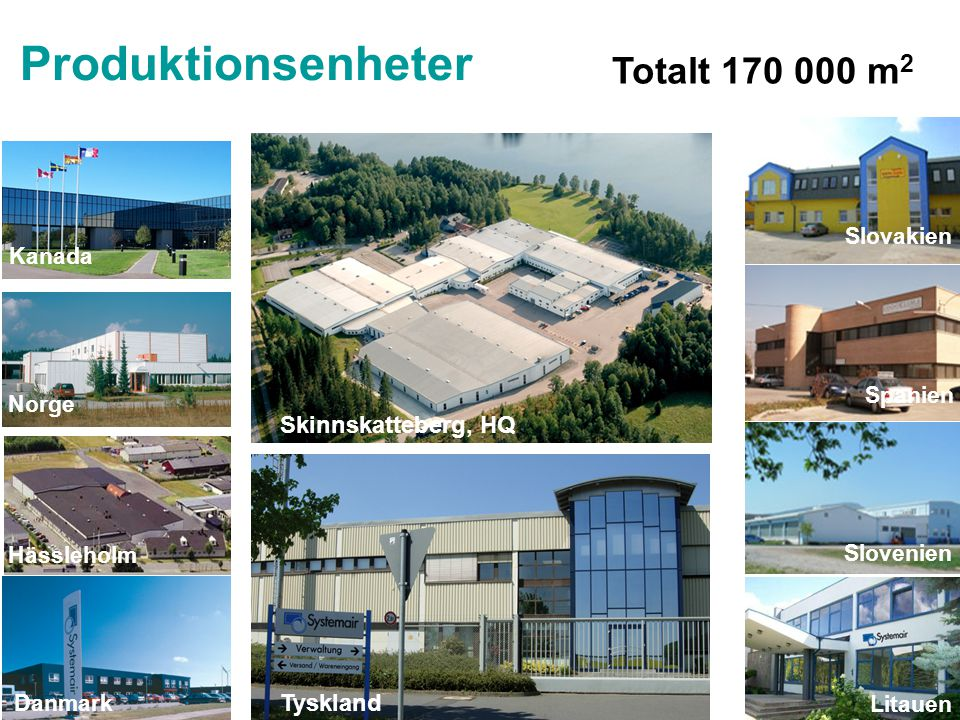Hässleholm Slovakien Spanien Kanada Norge Danmark Litauen Slovenien Tyskland Skinnskatteberg, HQ Produktionsenheter Totalt 170 000 m 2