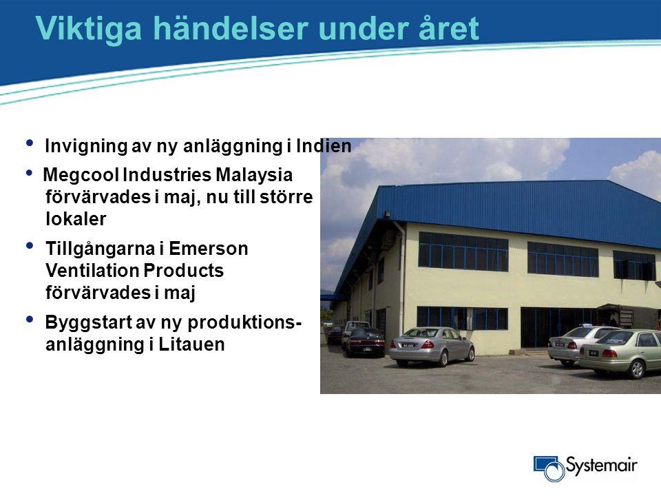 Viktiga händelser under året • Invigning av ny anläggning i Indien • Megcool Industries Malaysia förvärvades i maj, nu till större lokaler • Tillgånga