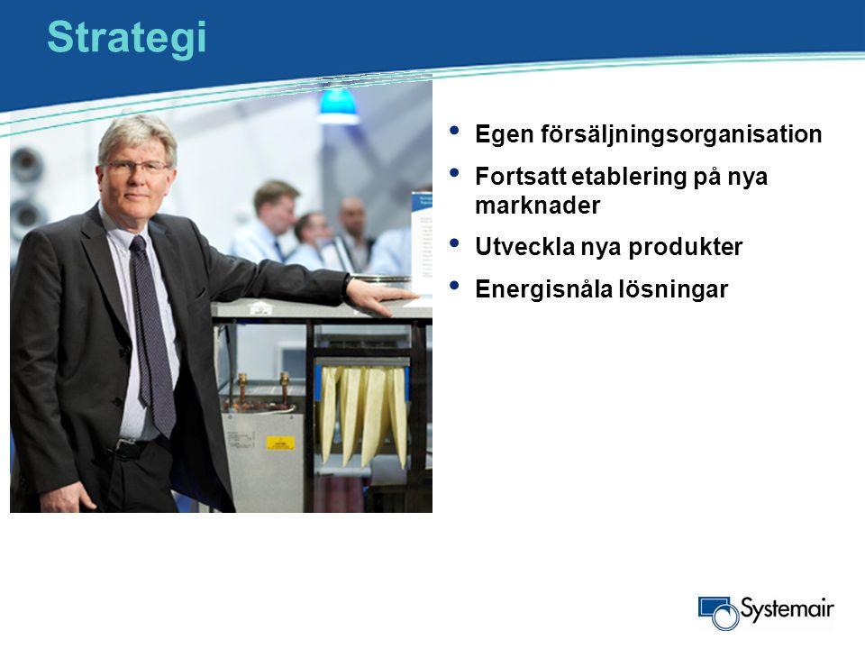 Strategi • Egen försäljningsorganisation • Fortsatt etablering på nya marknader • Utveckla nya produkter • Energisnåla lösningar •