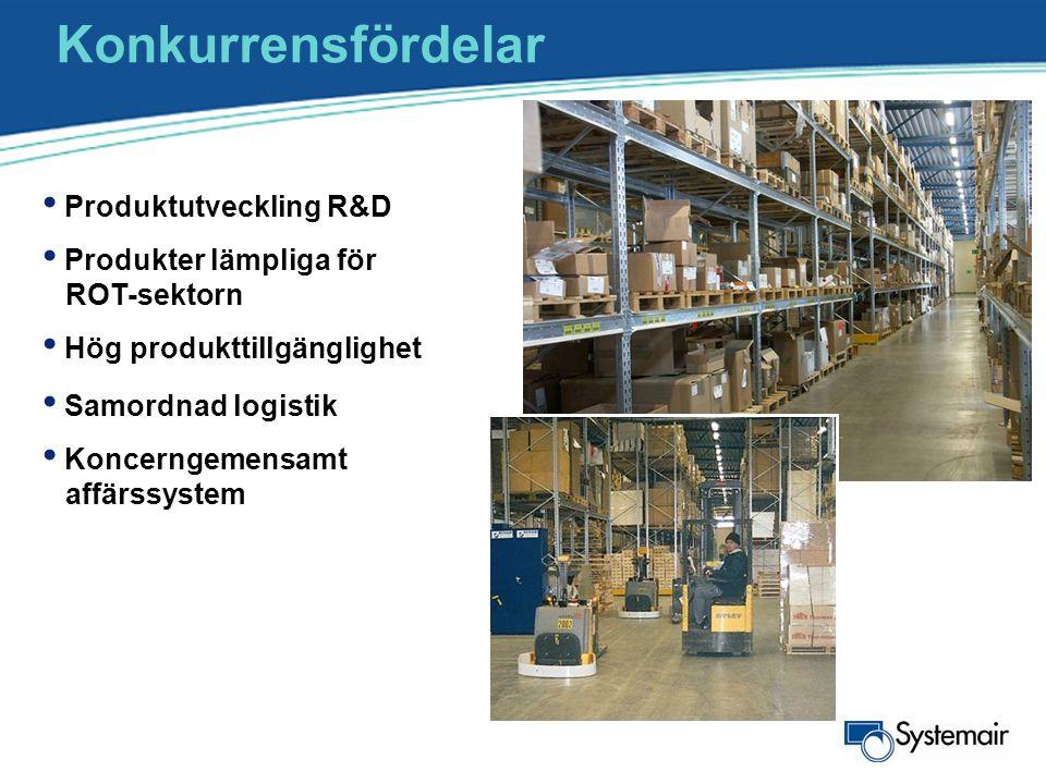 Konkurrensfördelar • Produktutveckling R&D • Produkter lämpliga för ROT-sektorn • Hög produkttillgänglighet • Samordnad logistik • Koncerngemensamt af