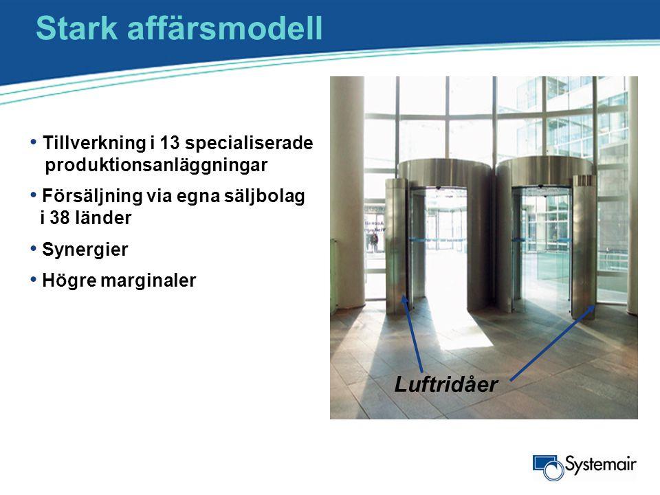 Stark affärsmodell • Tillverkning i 13 specialiserade produktionsanläggningar • Försäljning via egna säljbolag i 38 länder • Synergier • Högre margina