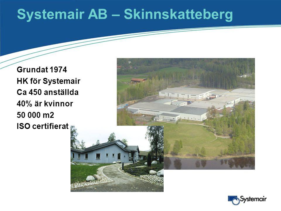 Systemair AB – Skinnskatteberg Grundat 1974 HK för Systemair Ca 450 anställda 40% är kvinnor 50 000 m2 ISO certifierat