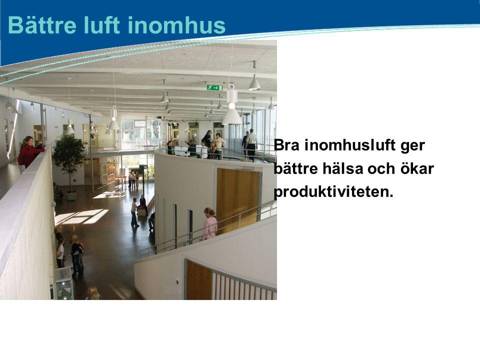 Bättre luft inomhus Bra inomhusluft ger bättre hälsa och ökar produktiviteten.