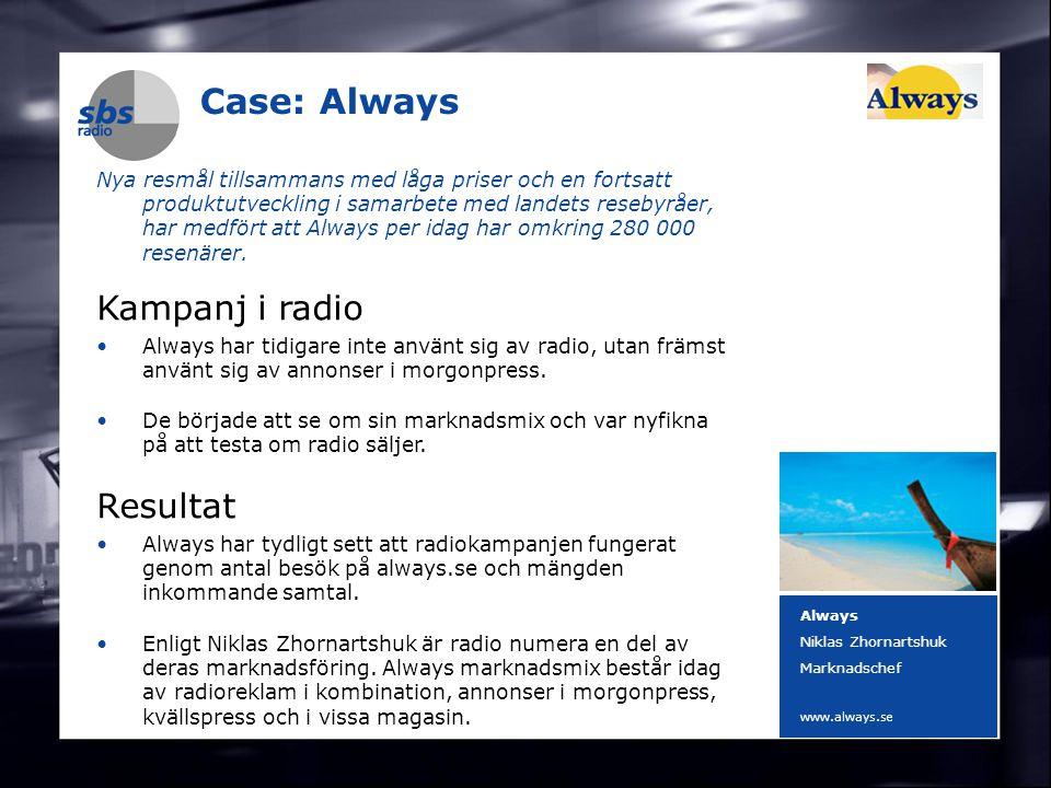 DENMARK SWEDEN FINLAND NORWAY 7 Case: Always Nya resmål tillsammans med låga priser och en fortsatt produktutveckling i samarbete med landets resebyråer, har medfört att Always per idag har omkring 280 000 resenärer.