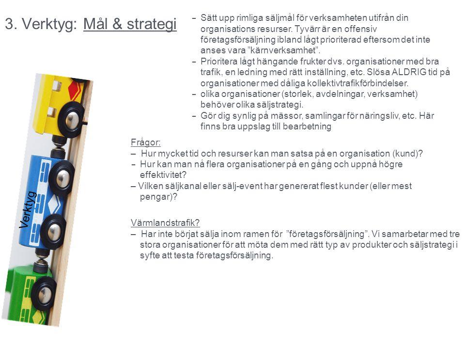 3. Verktyg: Mål & strategi Verktyg – Sätt upp rimliga säljmål för verksamheten utifrån din organisations resurser. Tyvärr är en offensiv företagsförsä