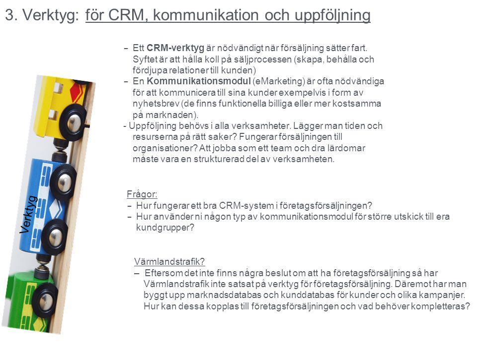 3. Verktyg: för CRM, kommunikation och uppföljning Verktyg – Ett CRM-verktyg är nödvändigt när försäljning sätter fart. Syftet är att hålla koll på sä
