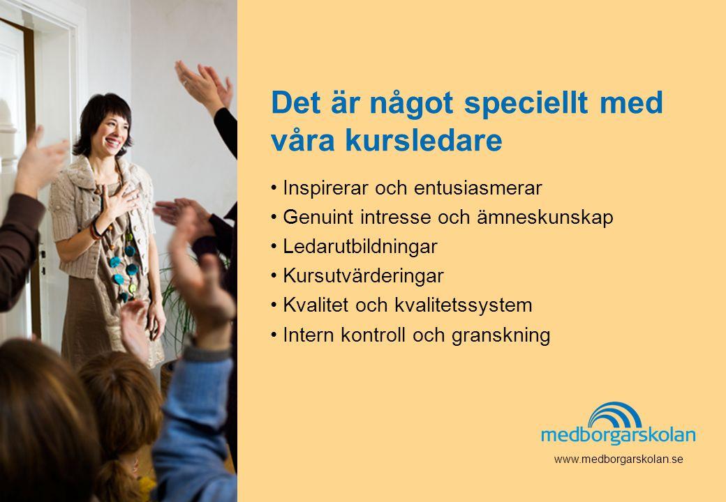 www.medborgarskolan.se Det är något speciellt med våra kursledare • Inspirerar och entusiasmerar • Genuint intresse och ämneskunskap • Ledarutbildning