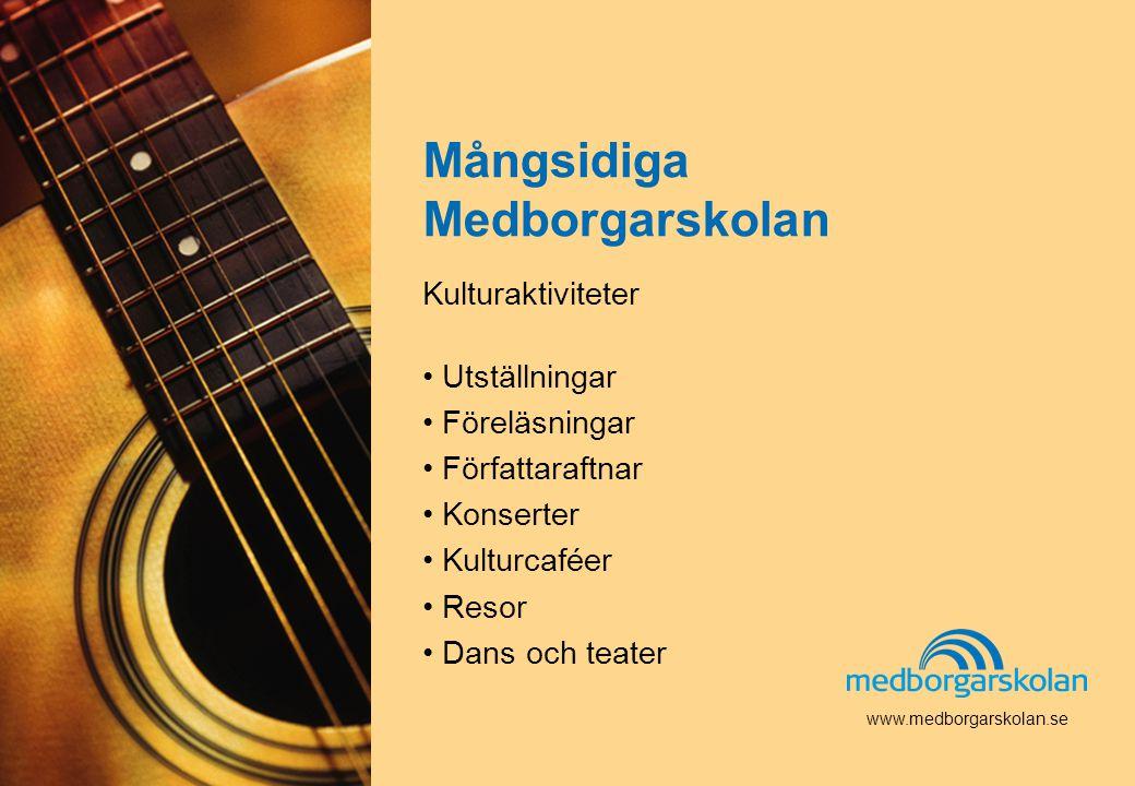 Band och musikgrupper som spelar i våra musikhus, invandrare och svenskar som träffas och umgås för att lära sig mer om varandra och Sverige.