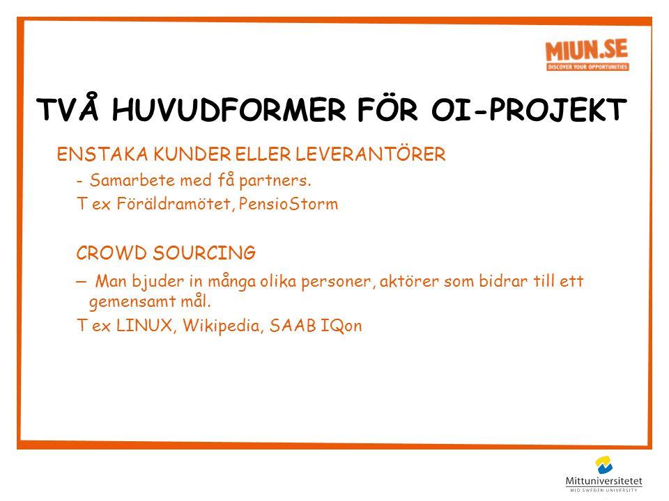 ENSTAKA KUNDER ELLER LEVERANTÖRER -Samarbete med få partners.