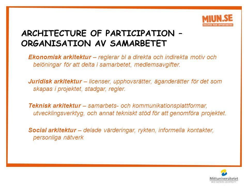 Ekonomisk arkitektur – reglerar bl a direkta och indirekta motiv och belöningar för att delta i samarbetet, medlemsavgifter.