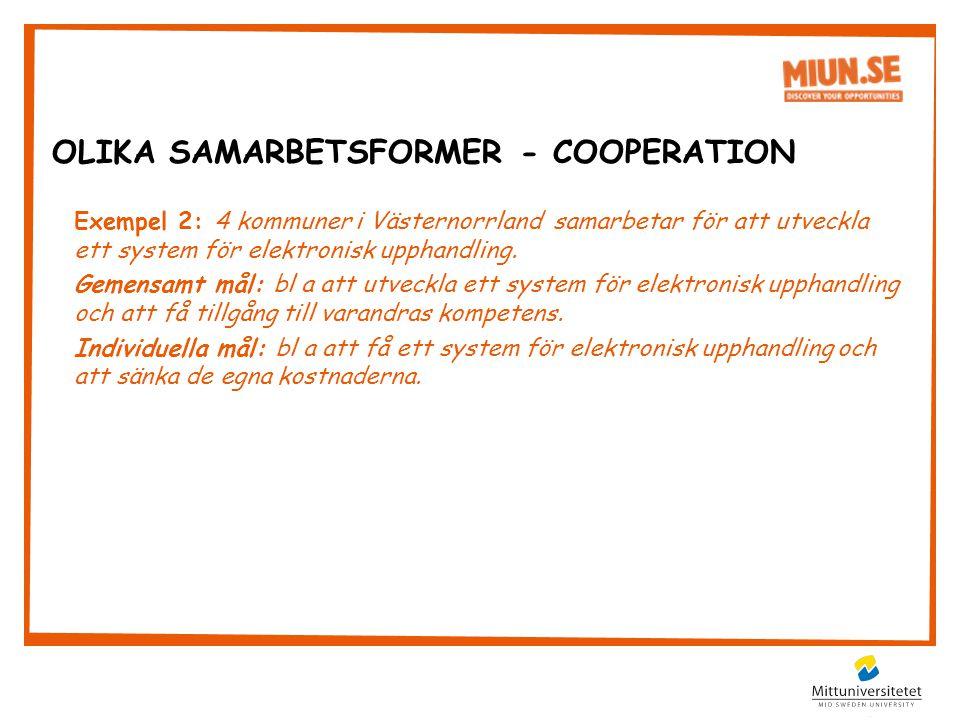 Exempel 2: 4 kommuner i Västernorrland samarbetar för att utveckla ett system för elektronisk upphandling.