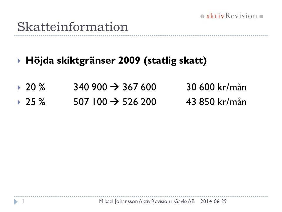Skatteinformation  Höjda skiktgränser 2009 (statlig skatt)  20 %340 900  367 60030 600 kr/mån  25 %507 100  526 20043 850 kr/mån 2014-06-291Mikae