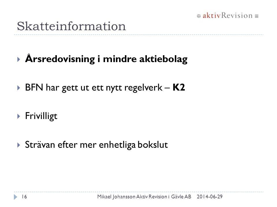 Skatteinformation 2014-06-29Mikael Johansson Aktiv Revision i Gävle AB16  Årsredovisning i mindre aktiebolag  BFN har gett ut ett nytt regelverk – K