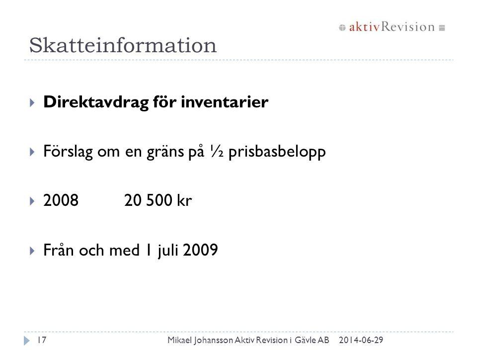 Skatteinformation 2014-06-29Mikael Johansson Aktiv Revision i Gävle AB17  Direktavdrag för inventarier  Förslag om en gräns på ½ prisbasbelopp  200