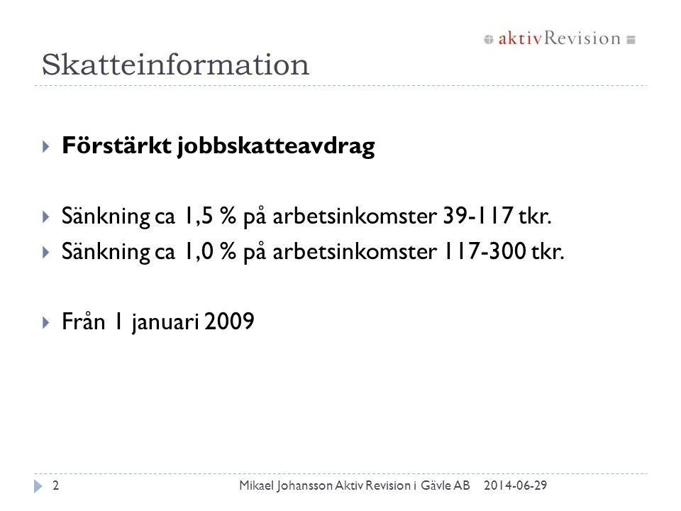 Skatteinformation 2014-06-29Mikael Johansson Aktiv Revision i Gävle AB2  Förstärkt jobbskatteavdrag  Sänkning ca 1,5 % på arbetsinkomster 39-117 tkr