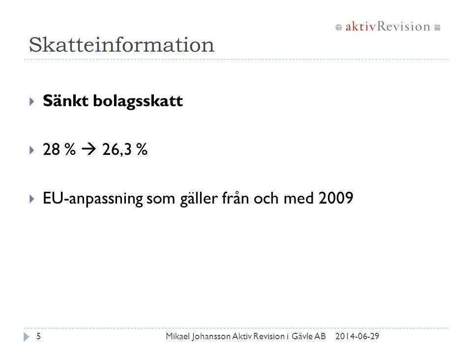 Skatteinformation 2014-06-29Mikael Johansson Aktiv Revision i Gävle AB5  Sänkt bolagsskatt  28 %  26,3 %  EU-anpassning som gäller från och med 20