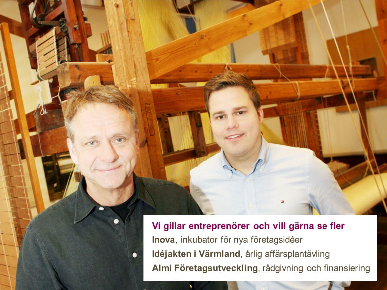 Vi gillar entreprenörer och vill gärna se fler Inova, inkubator för nya företagsidéer Idéjakten i Värmland, årlig affärsplantävling Almi Företagsutveckling, rådgivning och finansiering