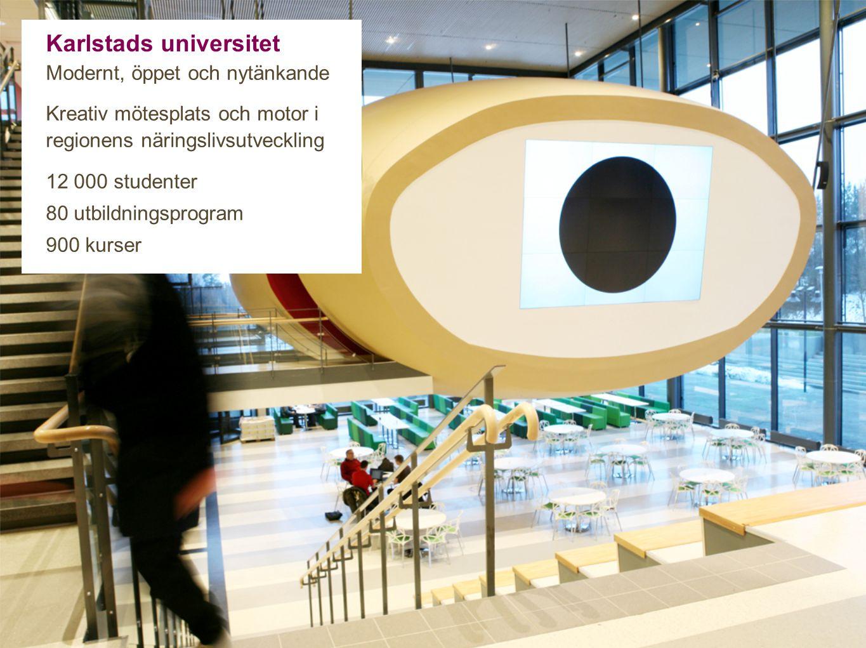 Karlstads universitet Modernt, öppet och nytänkande Kreativ mötesplats och motor i regionens näringslivsutveckling 12 000 studenter 80 utbildningsprogram 900 kurser