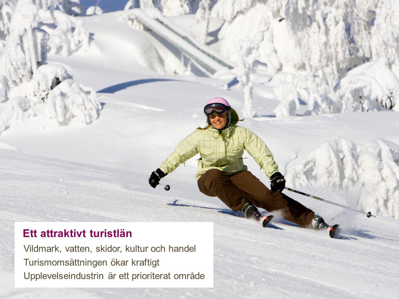 Ett attraktivt turistlän Vildmark, vatten, skidor, kultur och handel Turismomsättningen ökar kraftigt Upplevelseindustrin är ett prioriterat område