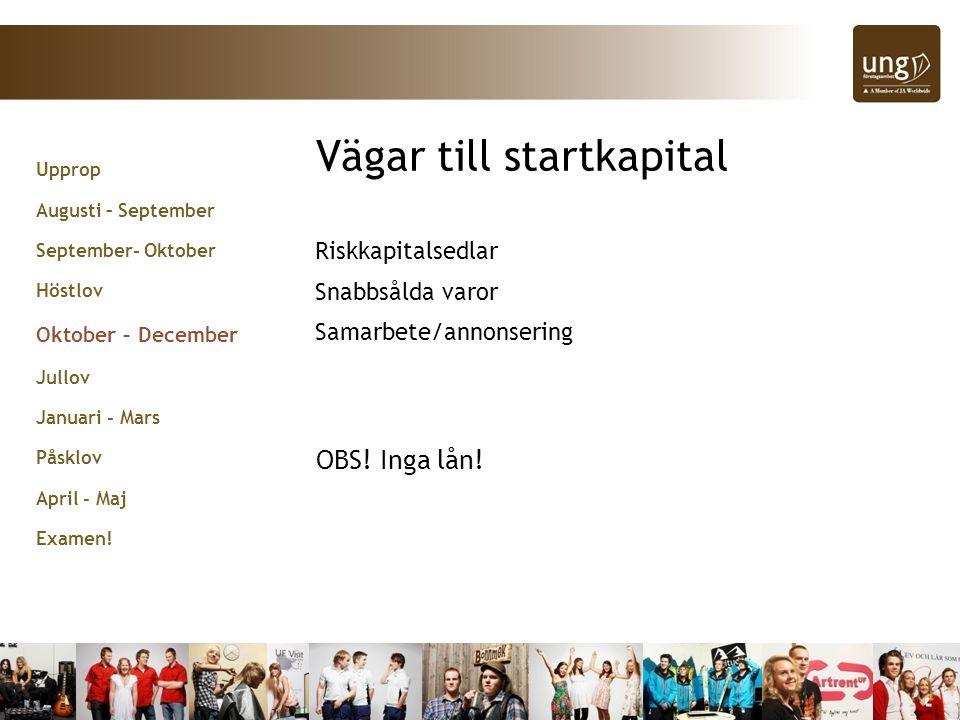 Vägar till startkapital Riskkapitalsedlar Snabbsålda varor Samarbete/annonsering OBS.
