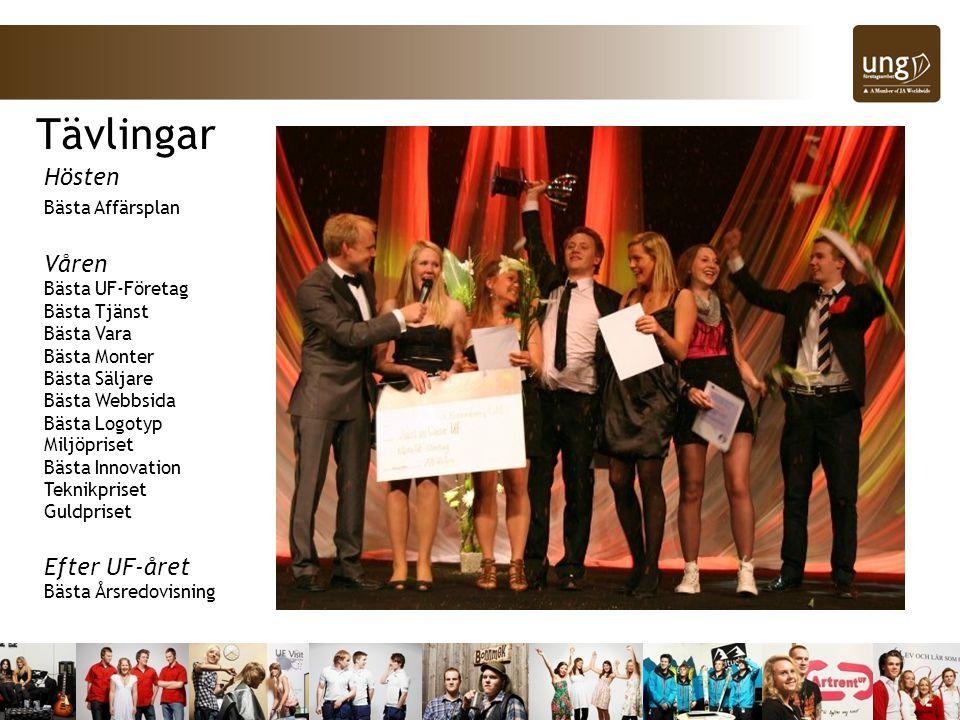 Hösten Bästa Affärsplan Våren Bästa UF-Företag Bästa Tjänst Bästa Vara Bästa Monter Bästa Säljare Bästa Webbsida Bästa Logotyp Miljöpriset Bästa Innovation Teknikpriset Guldpriset Efter UF-året Bästa Årsredovisning Tävlingar