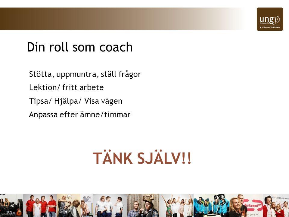 Stötta, uppmuntra, ställ frågor Lektion/ fritt arbete Tipsa/ Hjälpa/ Visa vägen Anpassa efter ämne/timmar Din roll som coach TÄNK SJÄLV!!