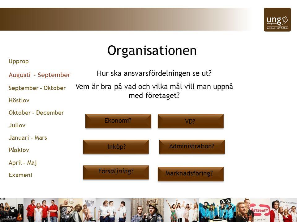 Upprop Augusti – September September - Oktober Höstlov Oktober - December Jullov Januari - Mars Påsklov April - Maj Examen.