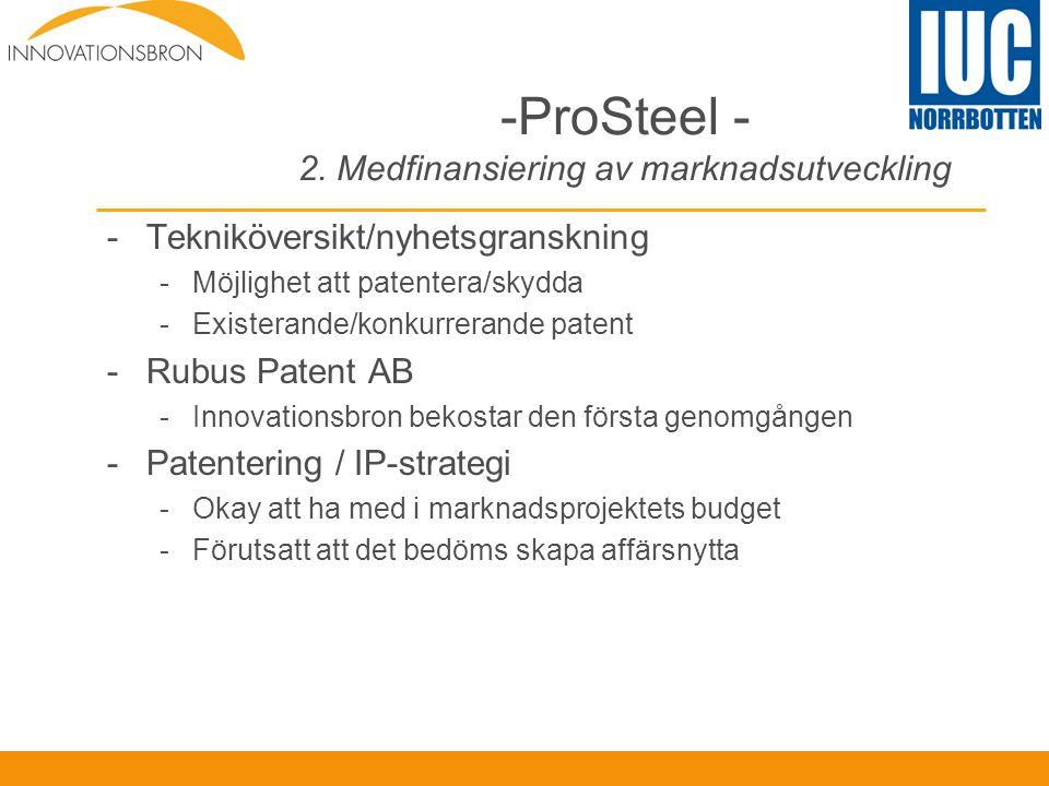 -ProSteel - 2. Medfinansiering av marknadsutveckling -Tekniköversikt/nyhetsgranskning -Möjlighet att patentera/skydda -Existerande/konkurrerande paten