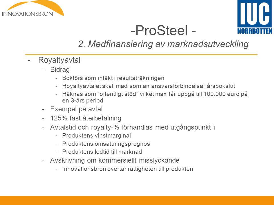 -ProSteel - 2. Medfinansiering av marknadsutveckling -Royaltyavtal -Bidrag -Bokförs som intäkt i resultaträkningen -Royaltyavtalet skall med som en an
