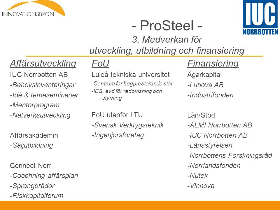 - ProSteel - 3. Medverkan för utveckling, utbildning och finansiering Affärsutveckling IUC Norrbotten AB -Behovsinventeringar -Idé & temaseminarier -M