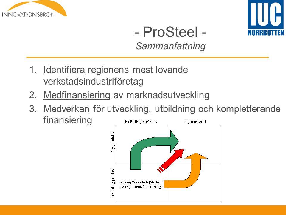 - ProSteel - Sammanfattning 1.Identifiera regionens mest lovande verkstadsindustriföretag 2.Medfinansiering av marknadsutveckling 3.Medverkan för utve