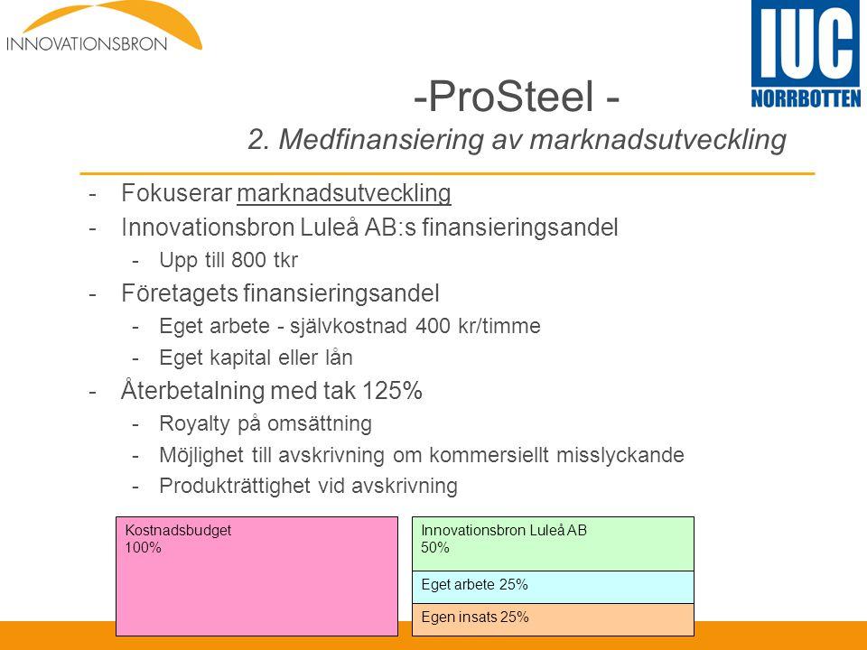 -ProSteel - 2. Medfinansiering av marknadsutveckling -Fokuserar marknadsutveckling -Innovationsbron Luleå AB:s finansieringsandel -Upp till 800 tkr -F