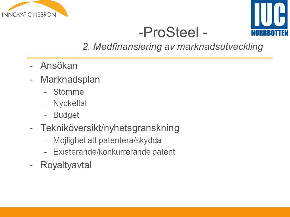 -ProSteel - 2. Medfinansiering av marknadsutveckling -Ansökan -Marknadsplan -Stomme -Nyckeltal -Budget -Tekniköversikt/nyhetsgranskning -Möjlighet att