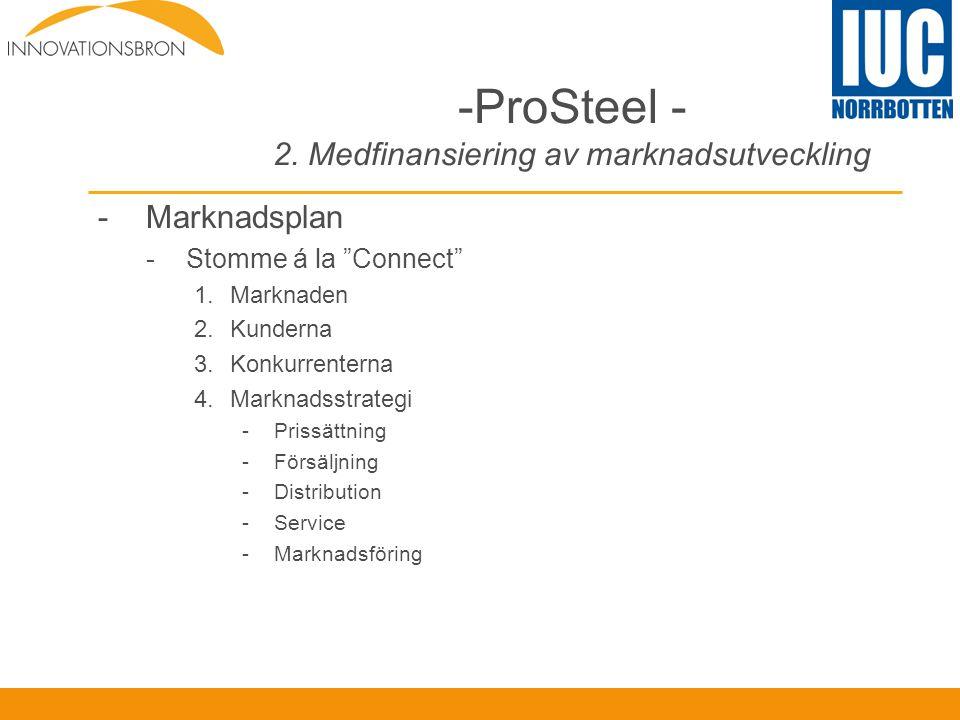 """-ProSteel - 2. Medfinansiering av marknadsutveckling -Marknadsplan -Stomme á la """"Connect"""" 1.Marknaden 2.Kunderna 3.Konkurrenterna 4.Marknadsstrategi -"""