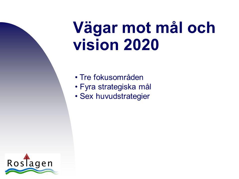 Vägar mot mål och vision 2020 • Tre fokusområden • Fyra strategiska mål • Sex huvudstrategier