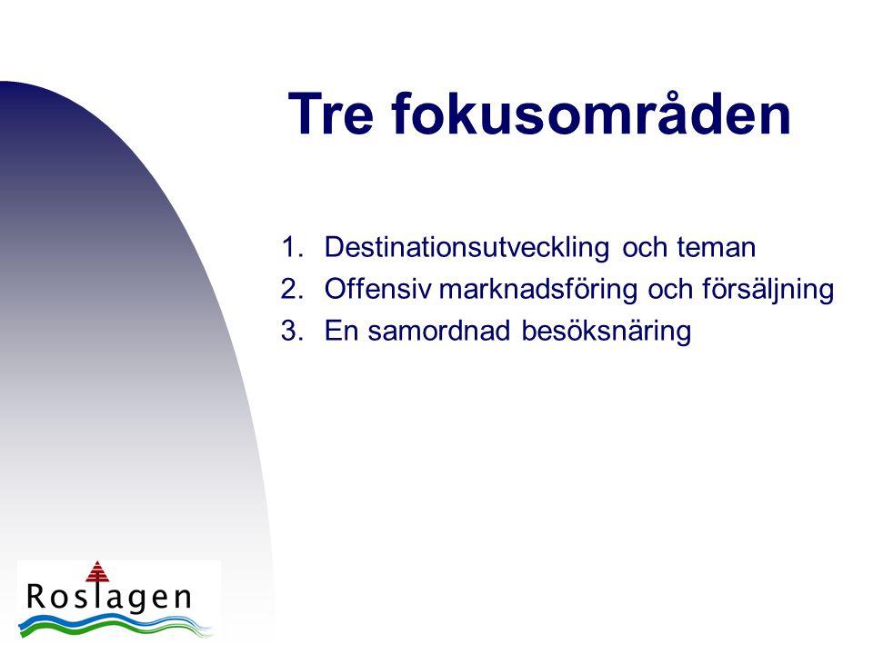 1.Destinationsutveckling och teman 2.Offensiv marknadsföring och försäljning 3.En samordnad besöksnäring Tre fokusområden
