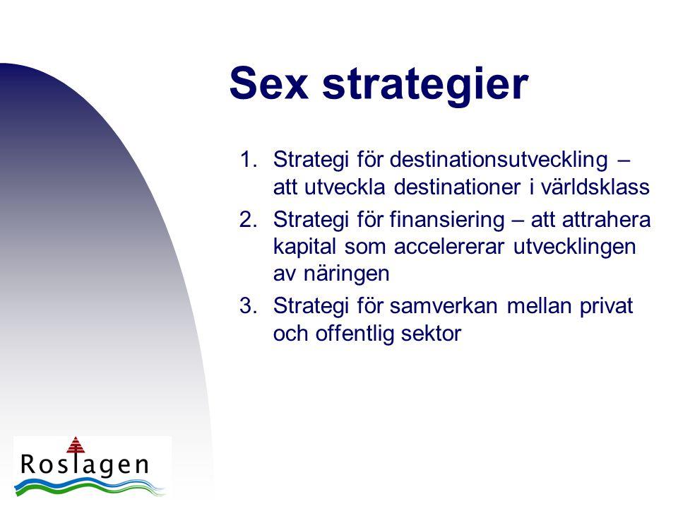 1.Strategi för destinationsutveckling – att utveckla destinationer i världsklass 2.Strategi för finansiering – att attrahera kapital som accelererar utvecklingen av näringen 3.Strategi för samverkan mellan privat och offentlig sektor Sex strategier