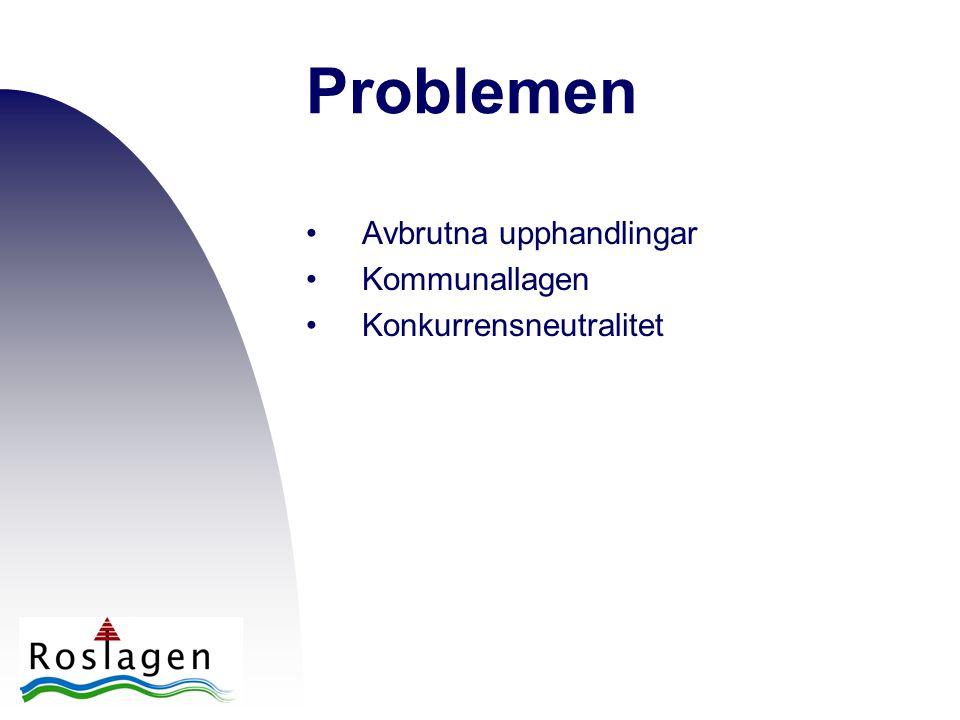 Problemen •Avbrutna upphandlingar •Kommunallagen •Konkurrensneutralitet