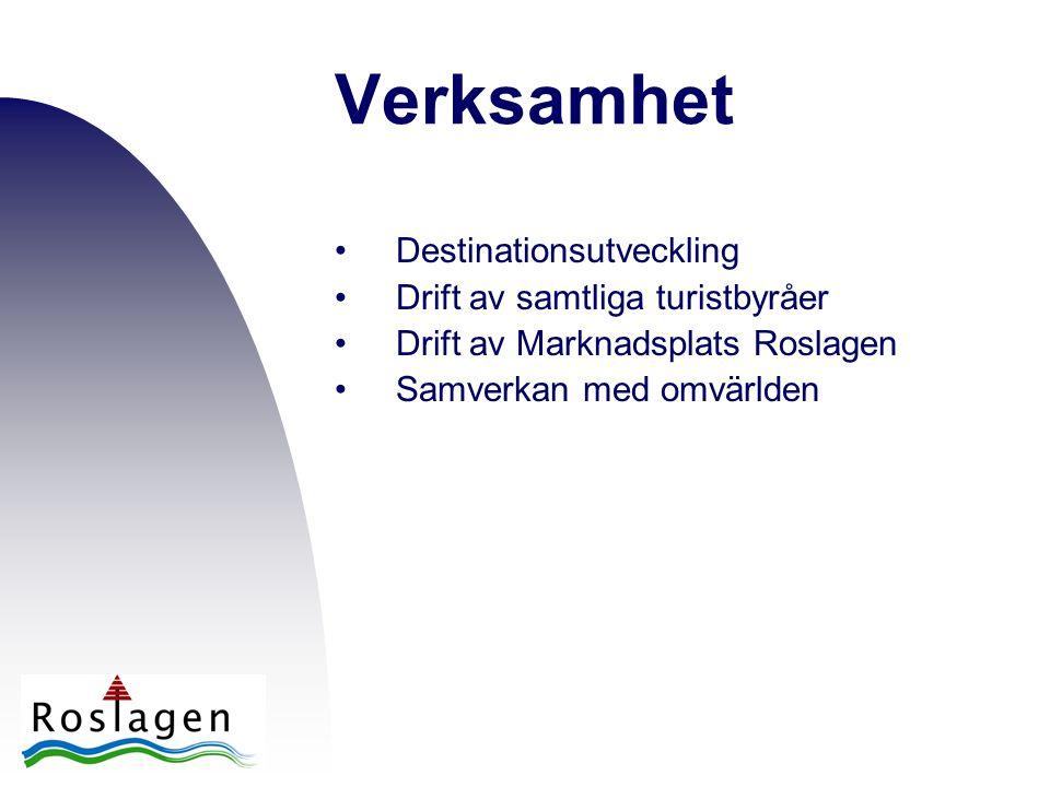 Verksamhet •Destinationsutveckling •Drift av samtliga turistbyråer •Drift av Marknadsplats Roslagen •Samverkan med omvärlden