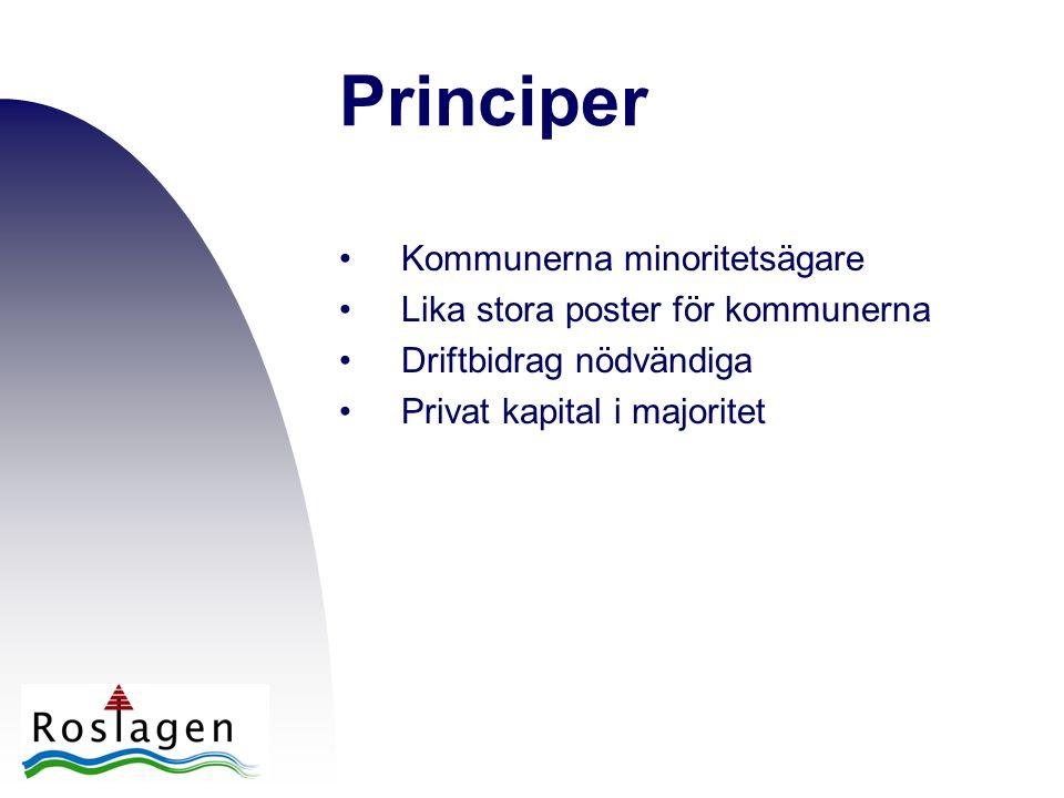 Principer •Kommunerna minoritetsägare •Lika stora poster för kommunerna •Driftbidrag nödvändiga •Privat kapital i majoritet